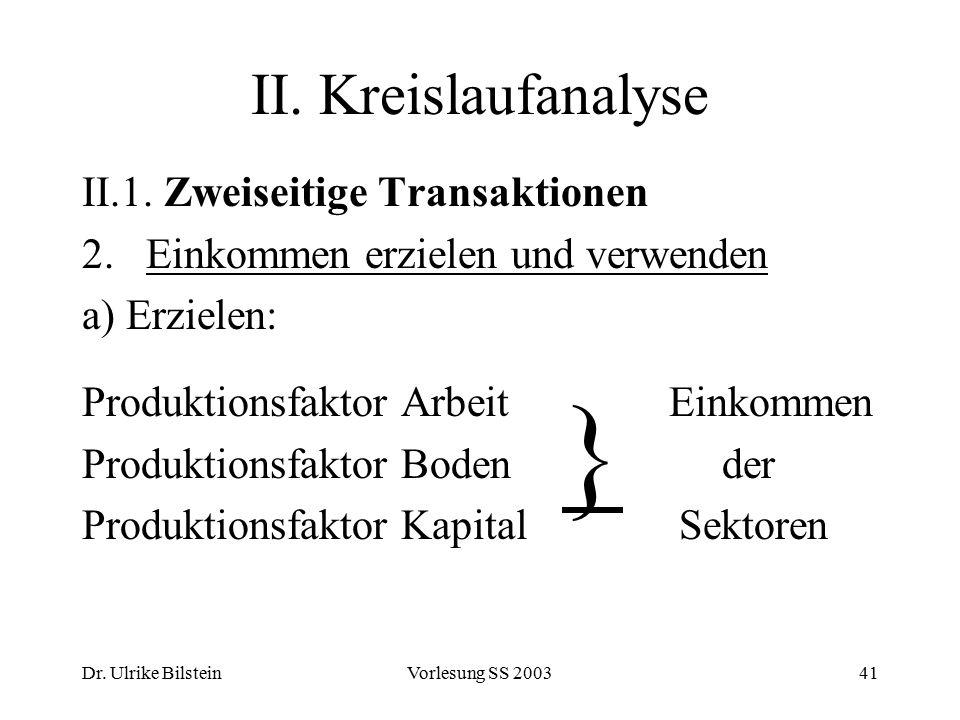 } II. Kreislaufanalyse II.1. Zweiseitige Transaktionen