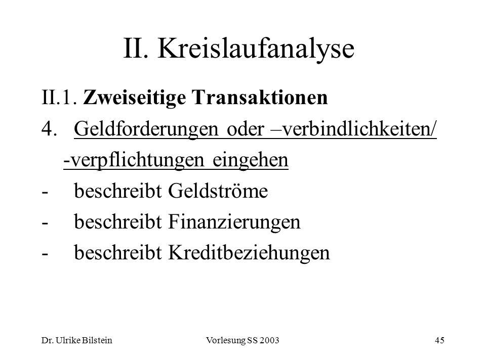 II. Kreislaufanalyse II.1. Zweiseitige Transaktionen