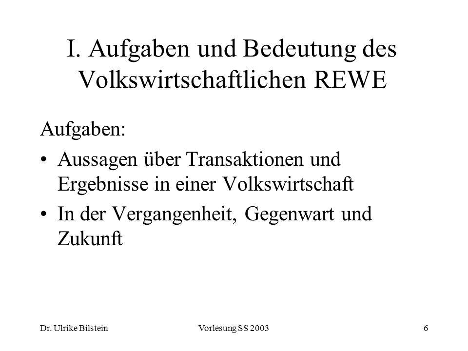 I. Aufgaben und Bedeutung des Volkswirtschaftlichen REWE