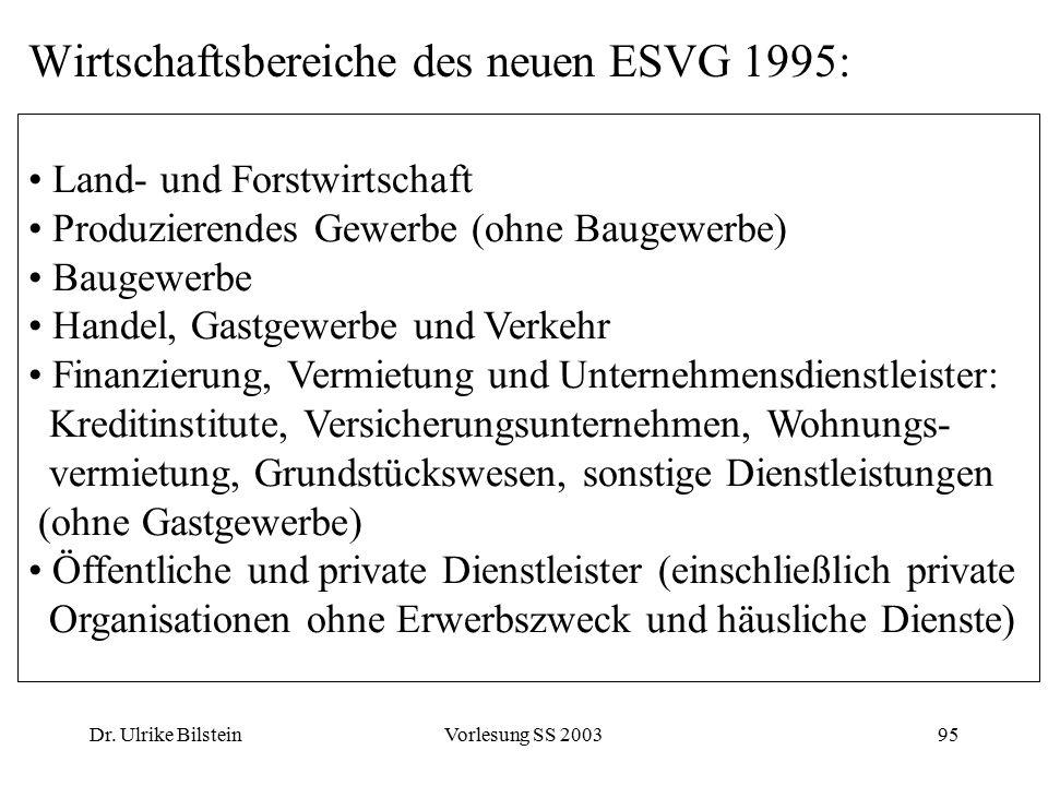 Wirtschaftsbereiche des neuen ESVG 1995: