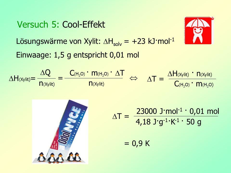 Versuch 5: Cool-Effekt Lösungswärme von Xylit: Hsolv = +23 kJ·mol-1