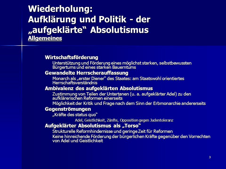 """Wiederholung: Aufklärung und Politik - der """"aufgeklärte Absolutismus Allgemeines"""