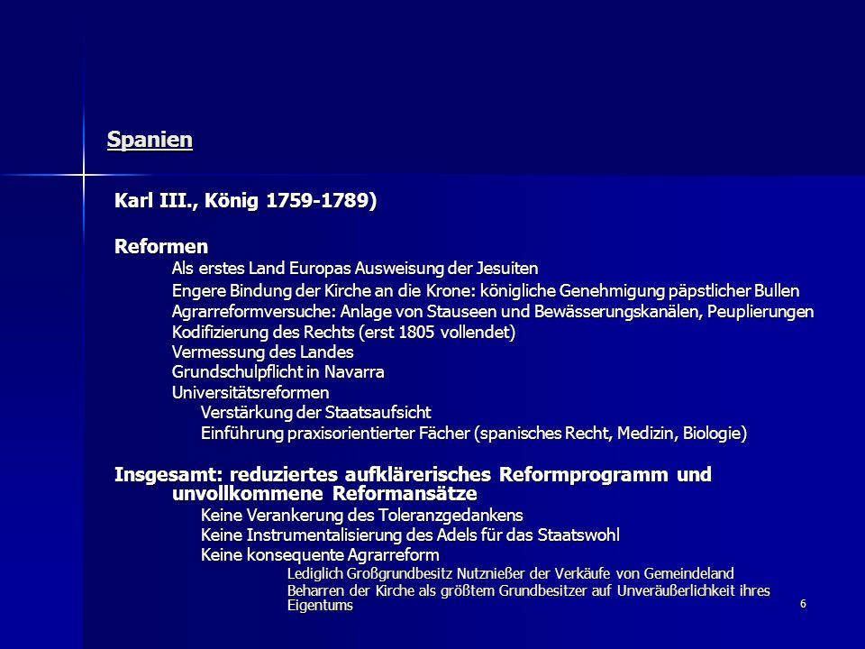 Spanien Karl III., König 1759-1789) Reformen