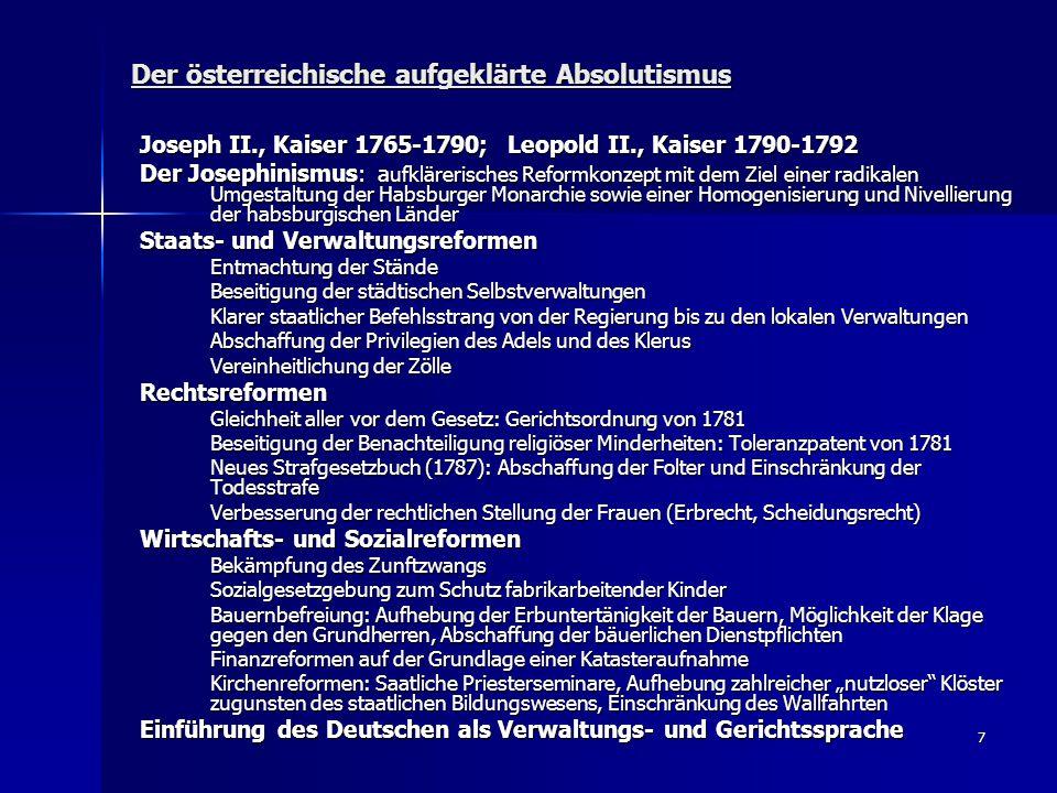 Der österreichische aufgeklärte Absolutismus