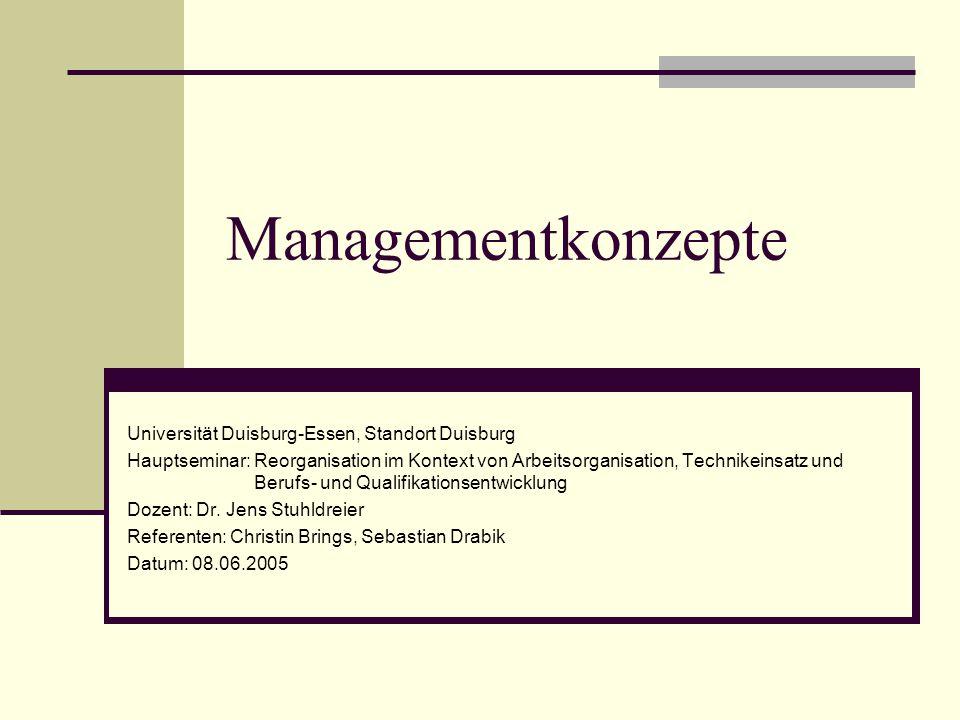 Managementkonzepte Universität Duisburg-Essen, Standort Duisburg