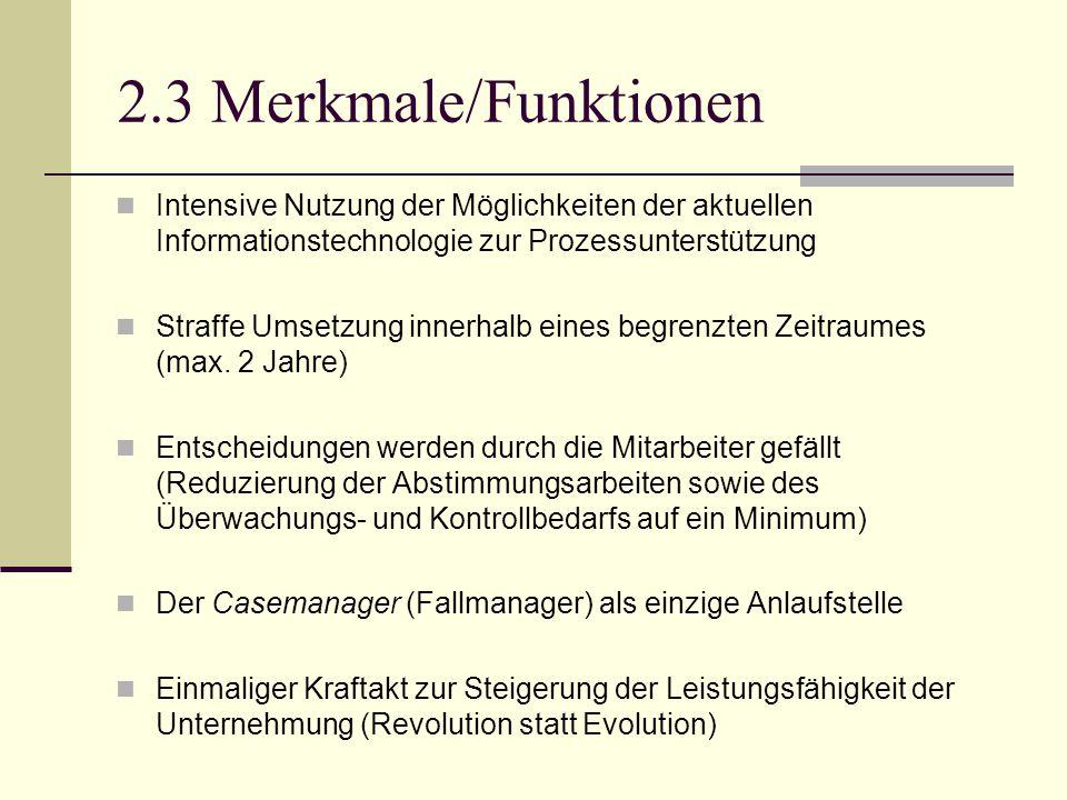 2.3 Merkmale/Funktionen Intensive Nutzung der Möglichkeiten der aktuellen Informationstechnologie zur Prozessunterstützung.