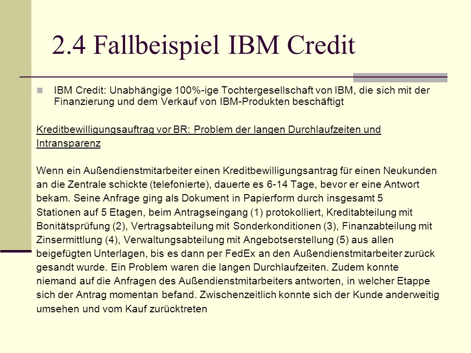 2.4 Fallbeispiel IBM Credit