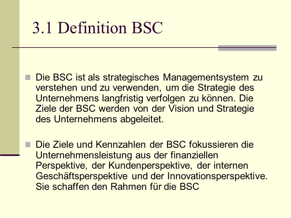 3.1 Definition BSC
