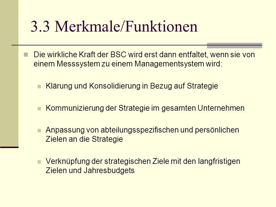 3.3 Merkmale/Funktionen Die wirkliche Kraft der BSC wird erst dann entfaltet, wenn sie von einem Messsystem zu einem Managementsystem wird: