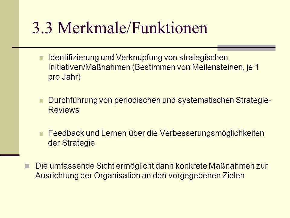 3.3 Merkmale/Funktionen Identifizierung und Verknüpfung von strategischen Initiativen/Maßnahmen (Bestimmen von Meilensteinen, je 1 pro Jahr)