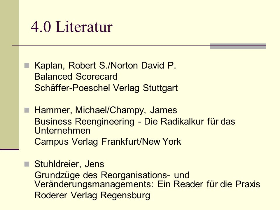 4.0 Literatur Kaplan, Robert S./Norton David P. Balanced Scorecard