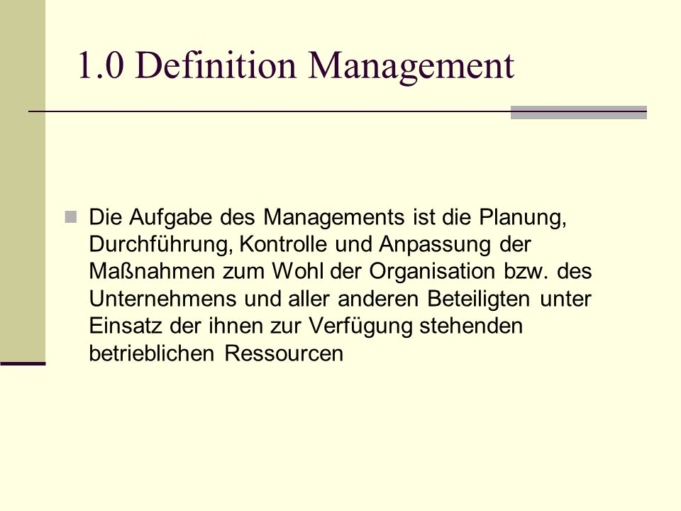 1.0 Definition Management
