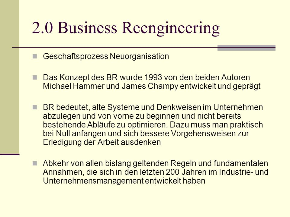 2.0 Business Reengineering