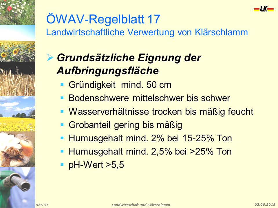 ÖWAV-Regelblatt 17 Landwirtschaftliche Verwertung von Klärschlamm