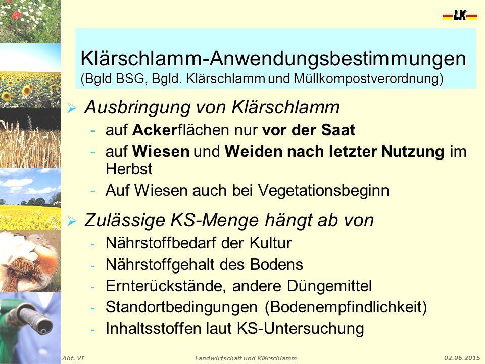 Klärschlamm-Anwendungsbestimmungen (Bgld BSG, Bgld