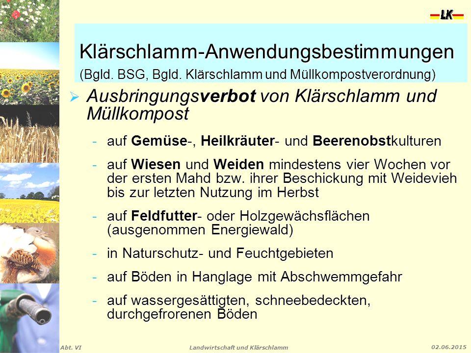 Klärschlamm-Anwendungsbestimmungen (Bgld. BSG, Bgld