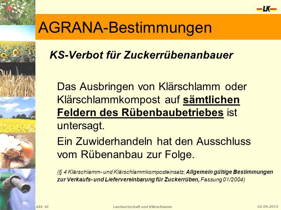 AGRANA-Bestimmungen KS-Verbot für Zuckerrübenanbauer