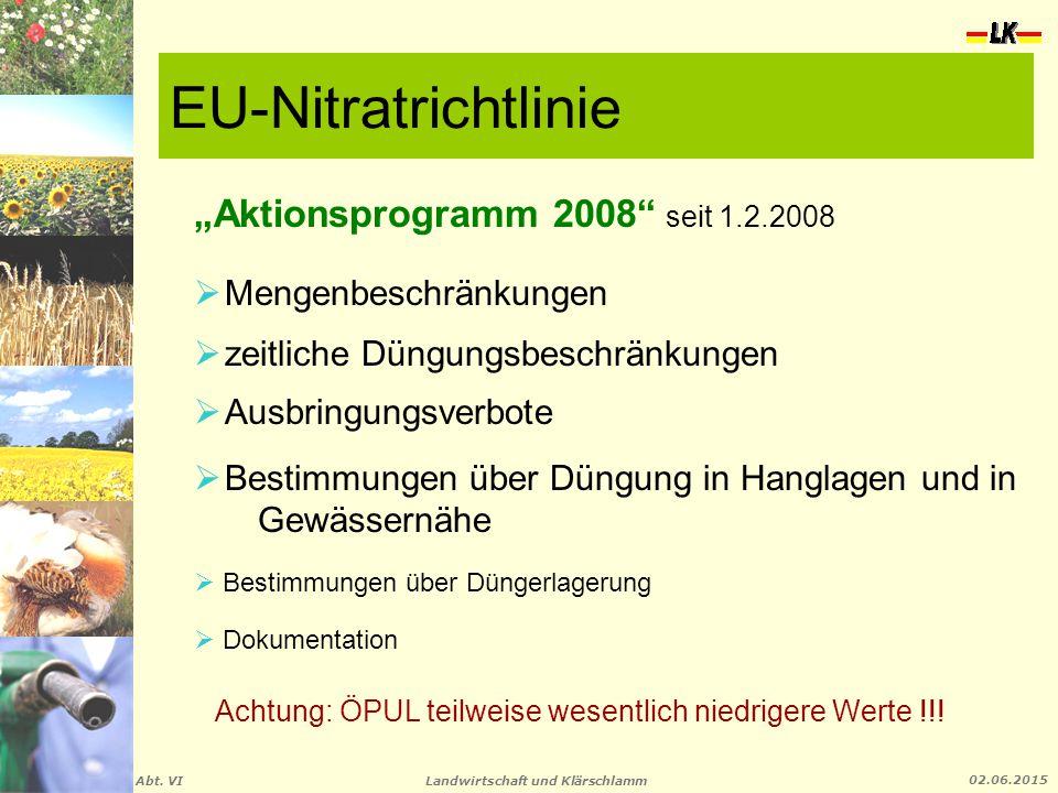 """EU-Nitratrichtlinie """"Aktionsprogramm 2008 seit 1.2.2008"""