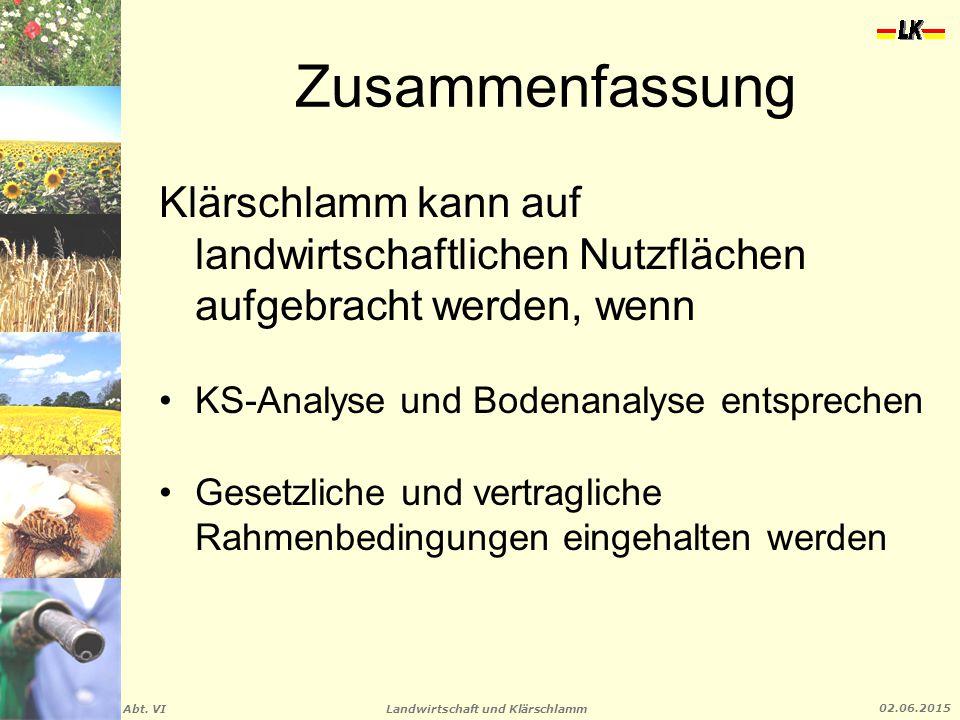 Zusammenfassung Klärschlamm kann auf landwirtschaftlichen Nutzflächen aufgebracht werden, wenn. KS-Analyse und Bodenanalyse entsprechen.
