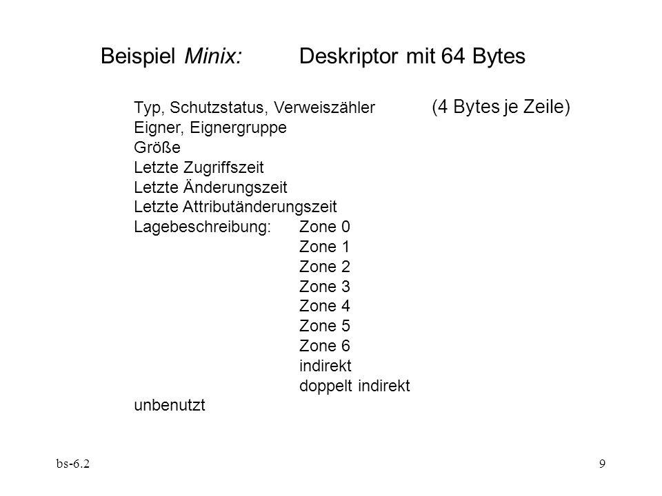 Beispiel Minix: Deskriptor mit 64 Bytes