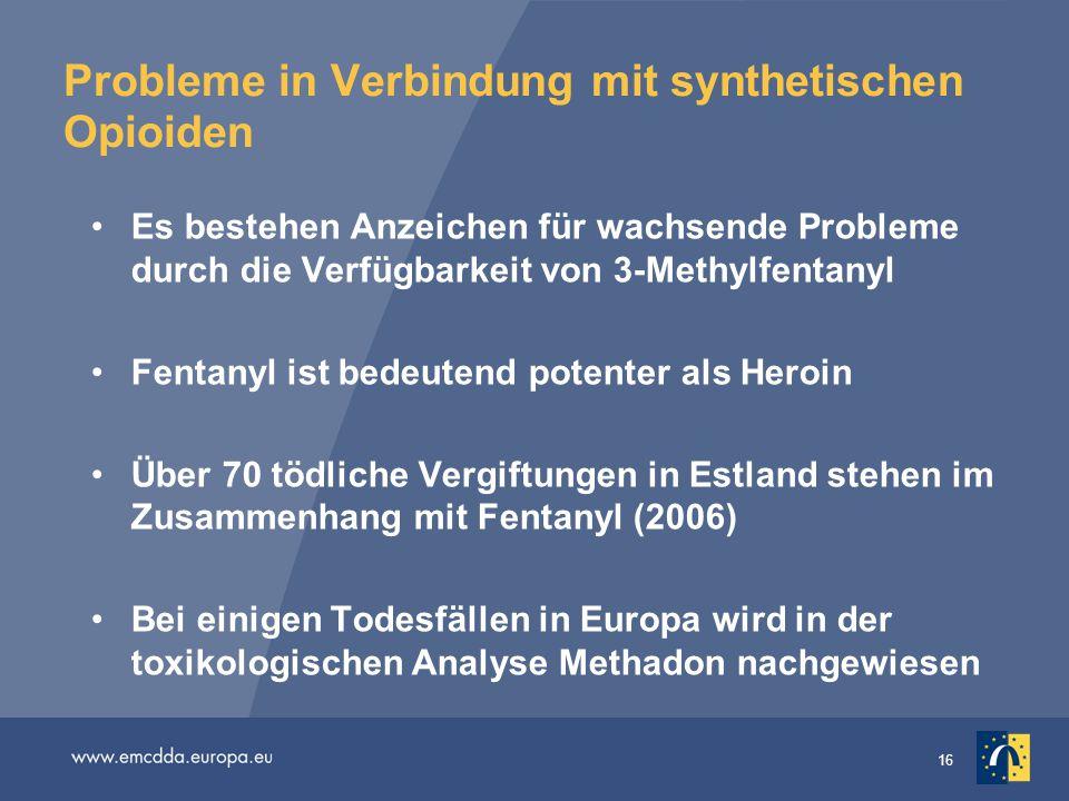 Probleme in Verbindung mit synthetischen Opioiden