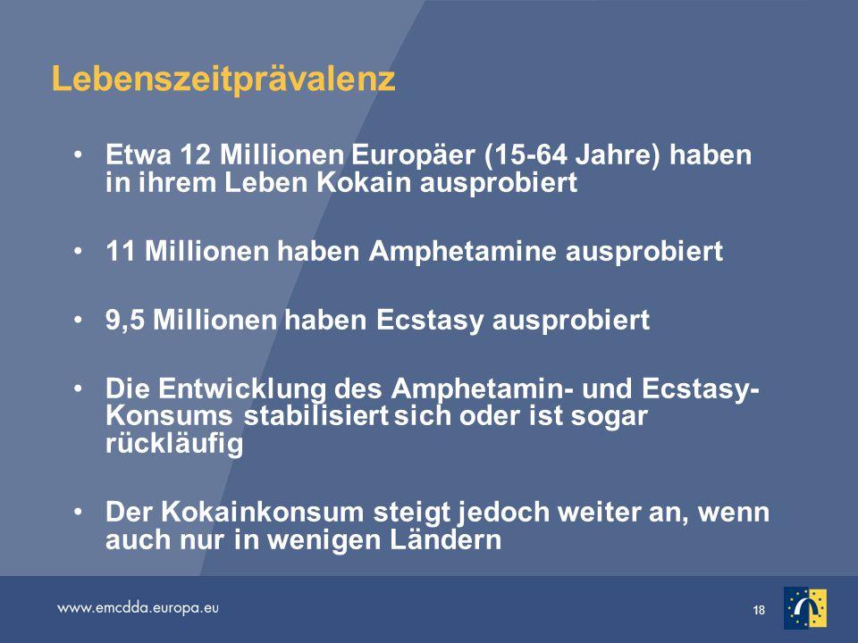 Lebenszeitprävalenz Etwa 12 Millionen Europäer (15-64 Jahre) haben in ihrem Leben Kokain ausprobiert.