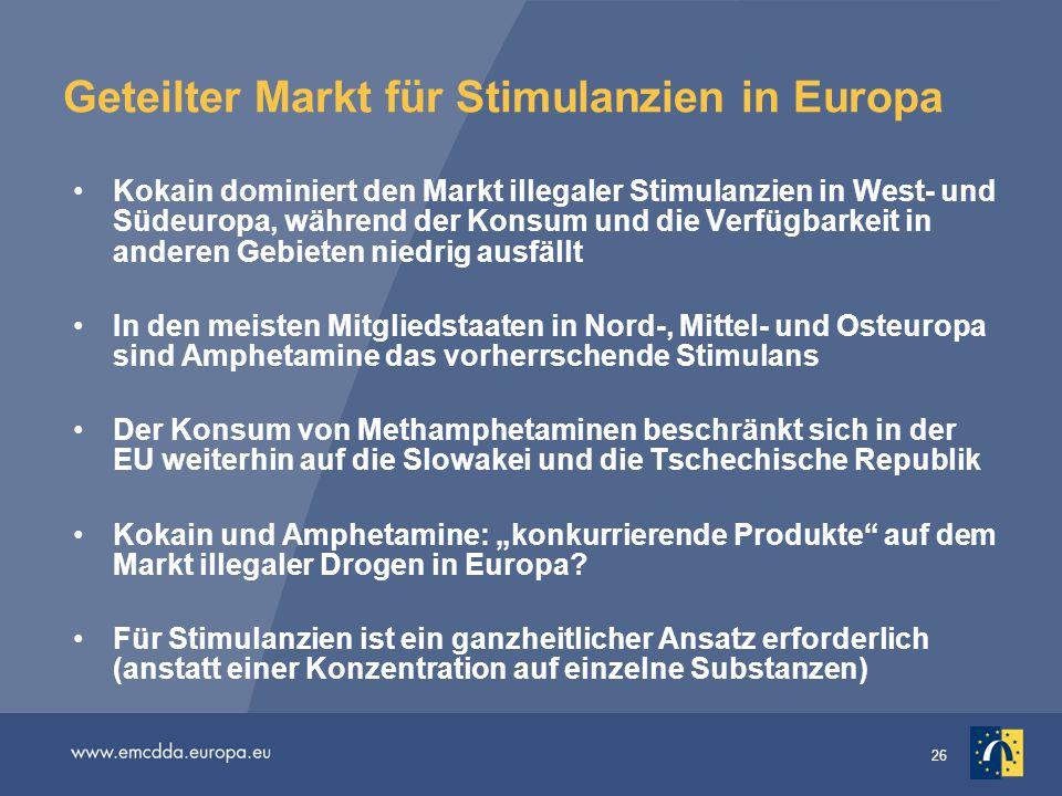 Geteilter Markt für Stimulanzien in Europa