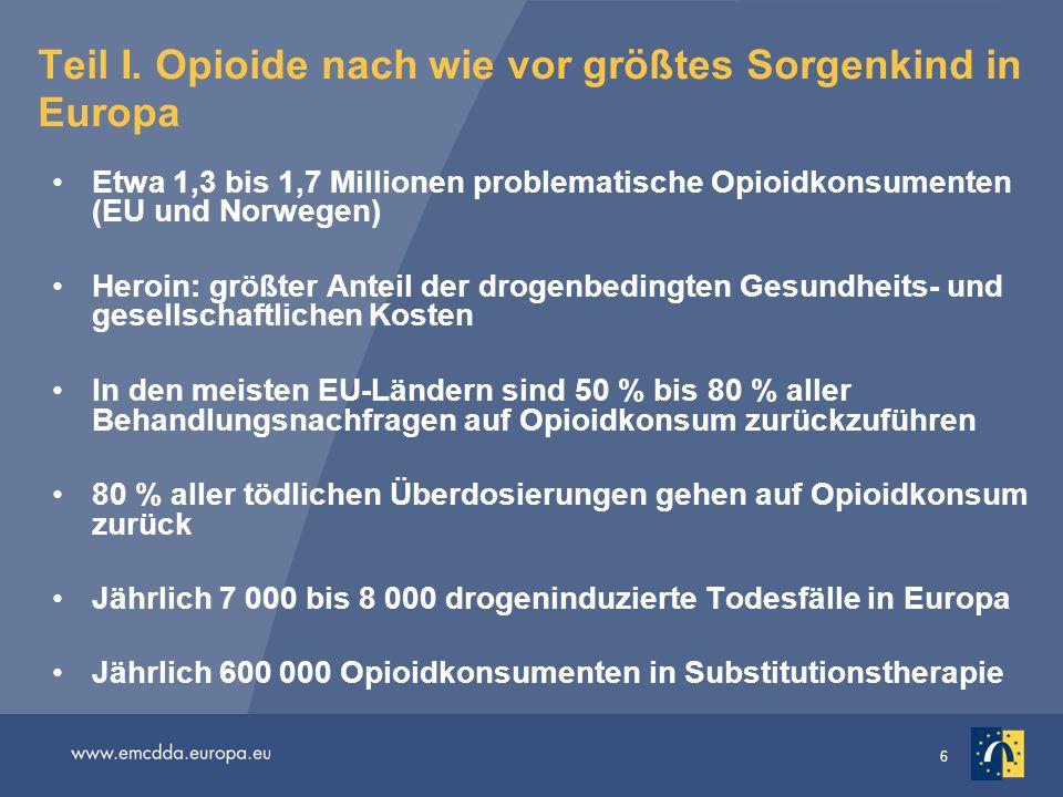 Teil I. Opioide nach wie vor größtes Sorgenkind in Europa