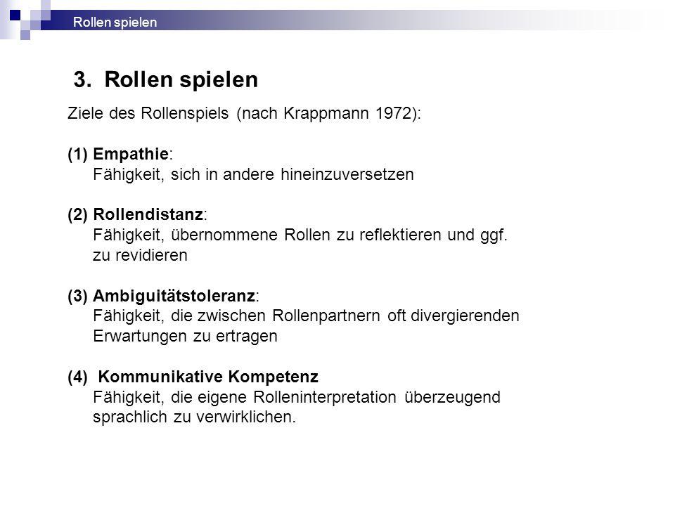 3. Rollen spielen Ziele des Rollenspiels (nach Krappmann 1972):