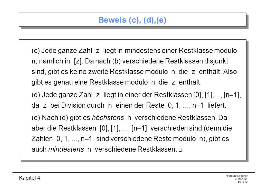 Beweis (c), (d),(e)