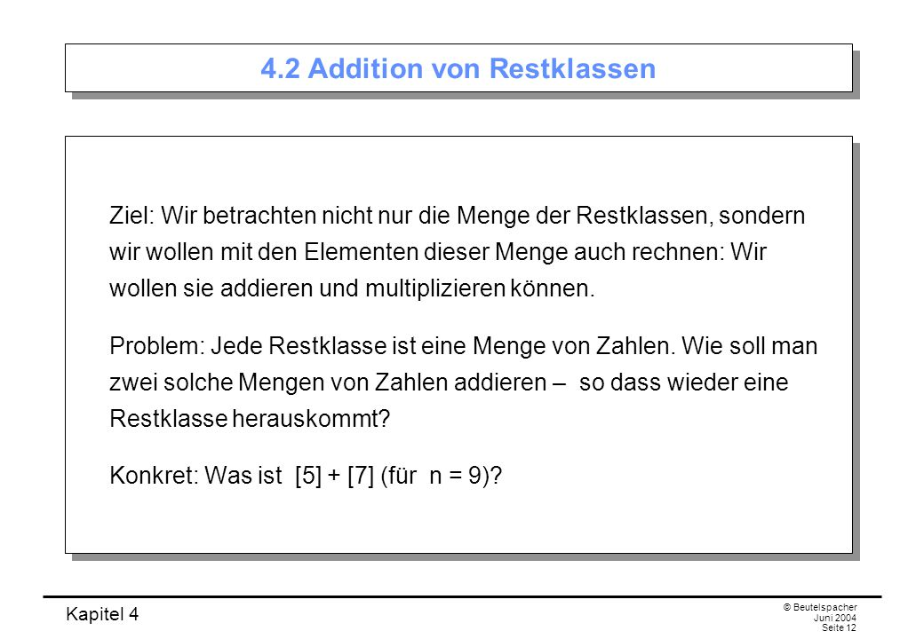 4.2 Addition von Restklassen