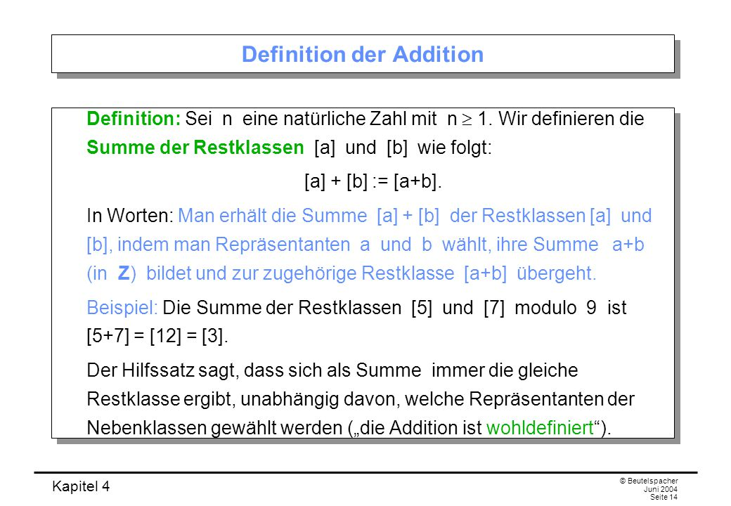 Definition der Addition