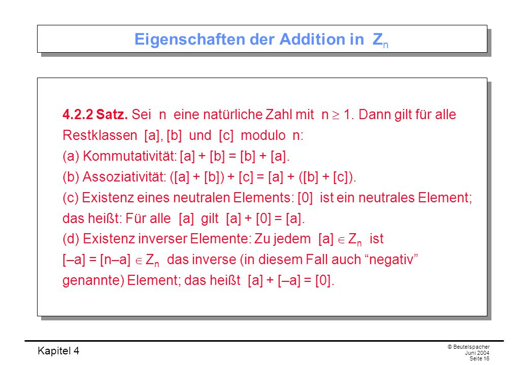 Eigenschaften der Addition in Zn