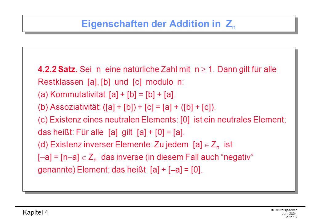 Eigenschaften der Addition in Zn