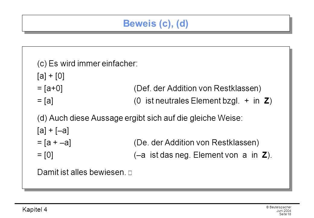 Beweis (c), (d)