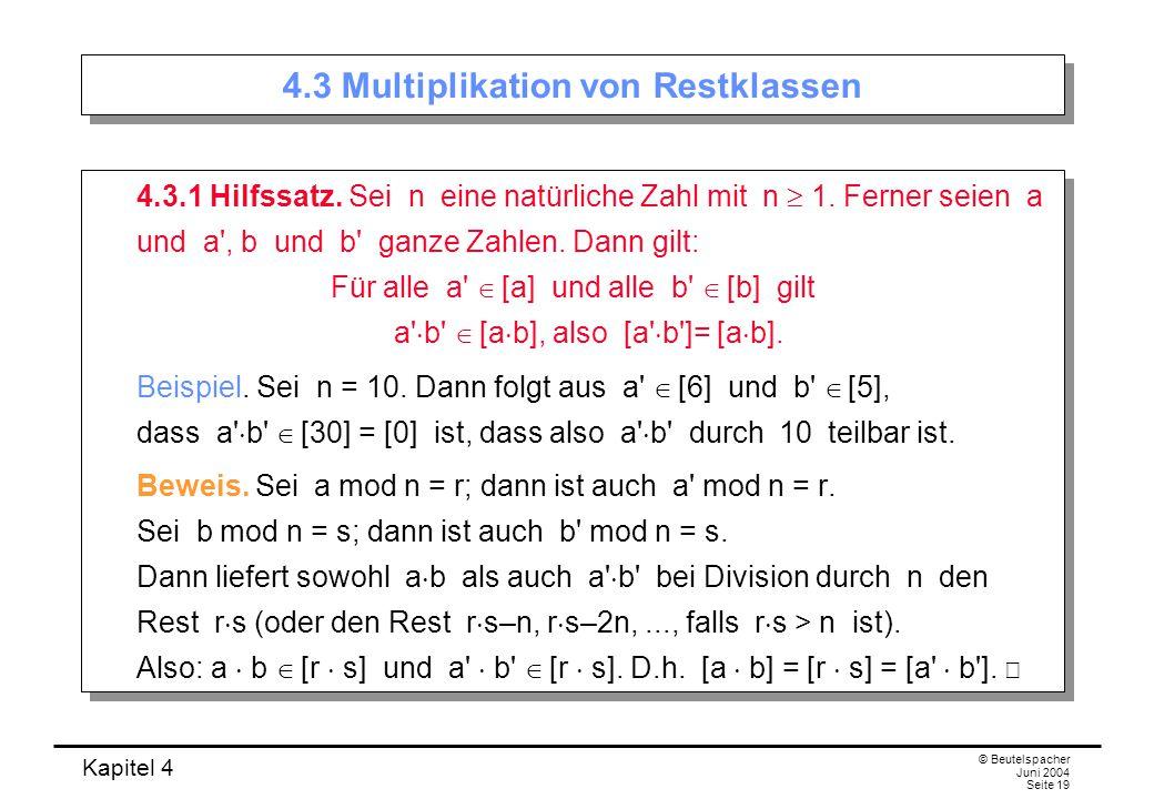 4.3 Multiplikation von Restklassen