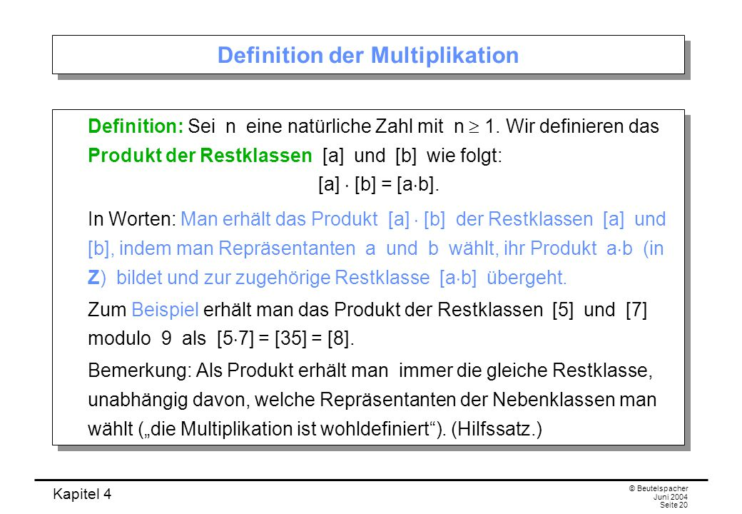 Definition der Multiplikation