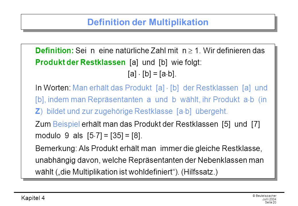Definition der Multiplikation