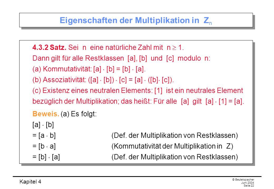 Eigenschaften der Multiplikation in Zn