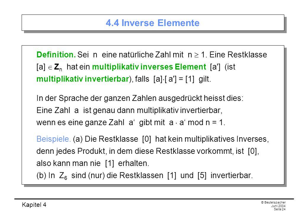 4.4 Inverse Elemente