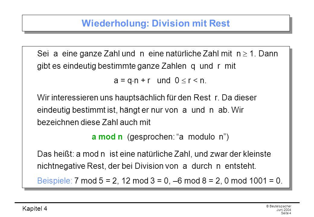 Wiederholung: Division mit Rest