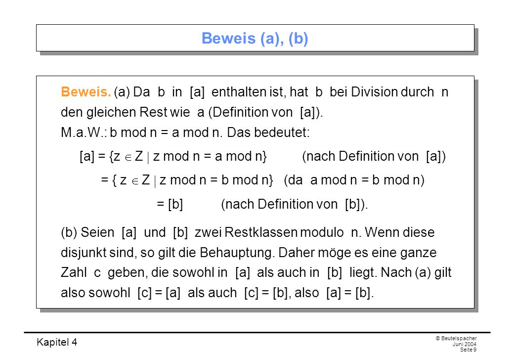Beweis (a), (b)