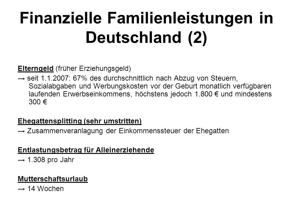Finanzielle Familienleistungen in Deutschland (2)