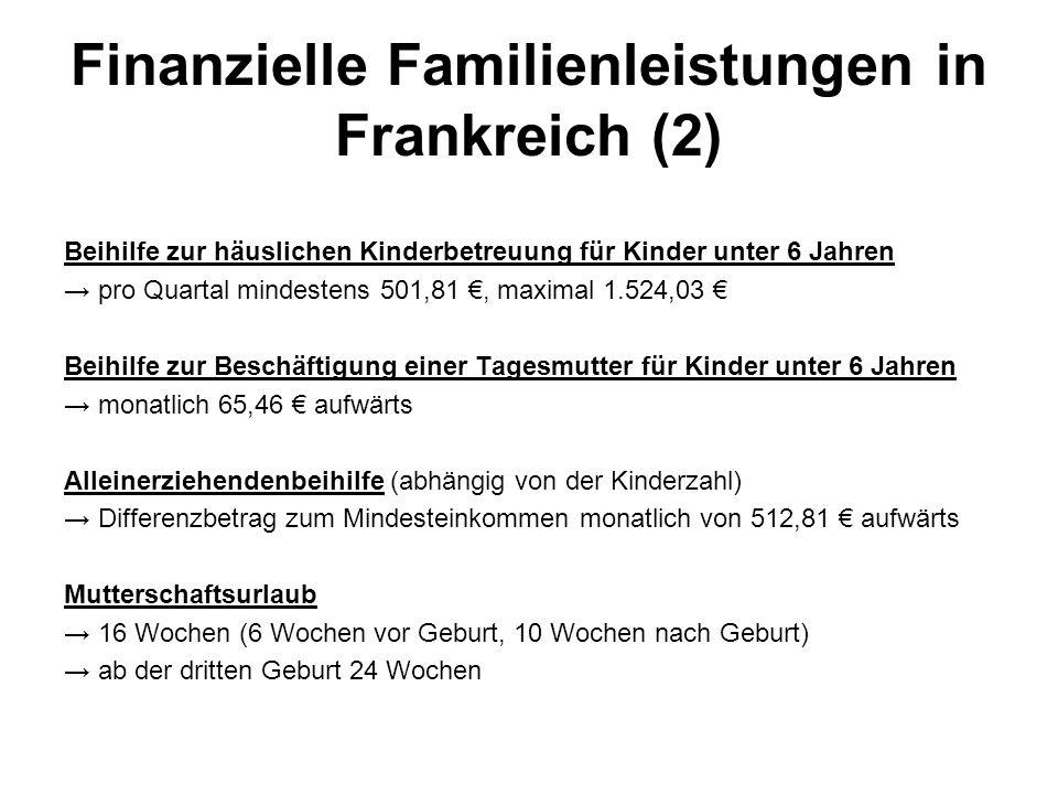 Finanzielle Familienleistungen in Frankreich (2)