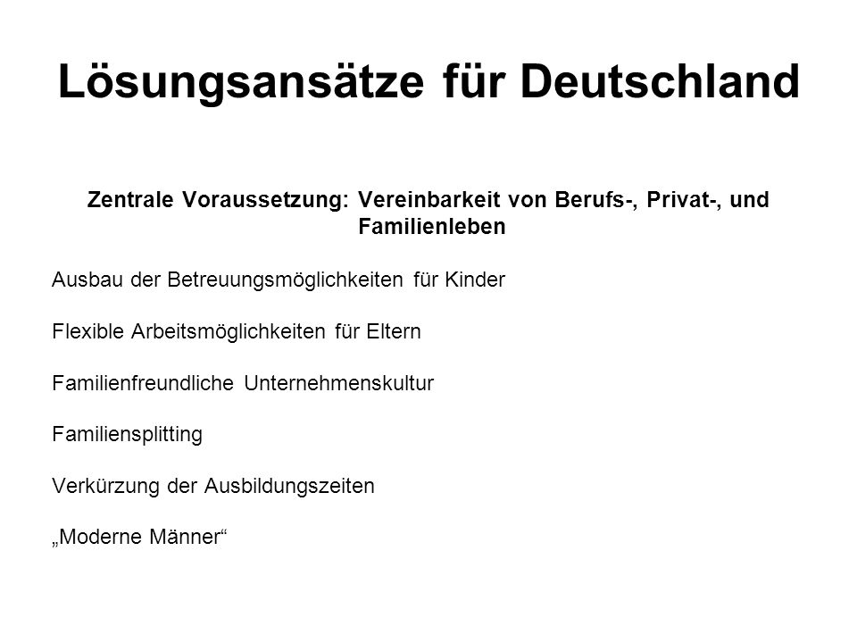 Lösungsansätze für Deutschland