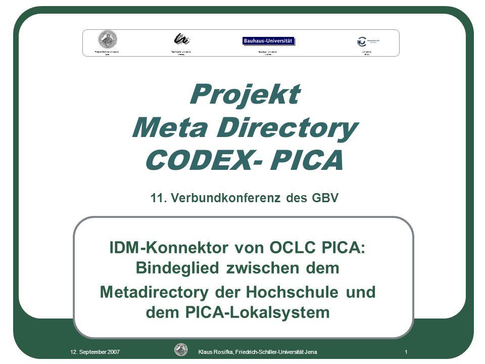 Projekt Meta Directory CODEX- PICA