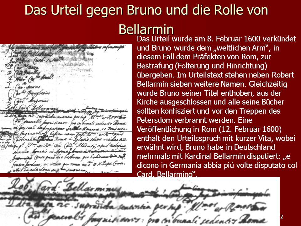Das Urteil gegen Bruno und die Rolle von Bellarmin