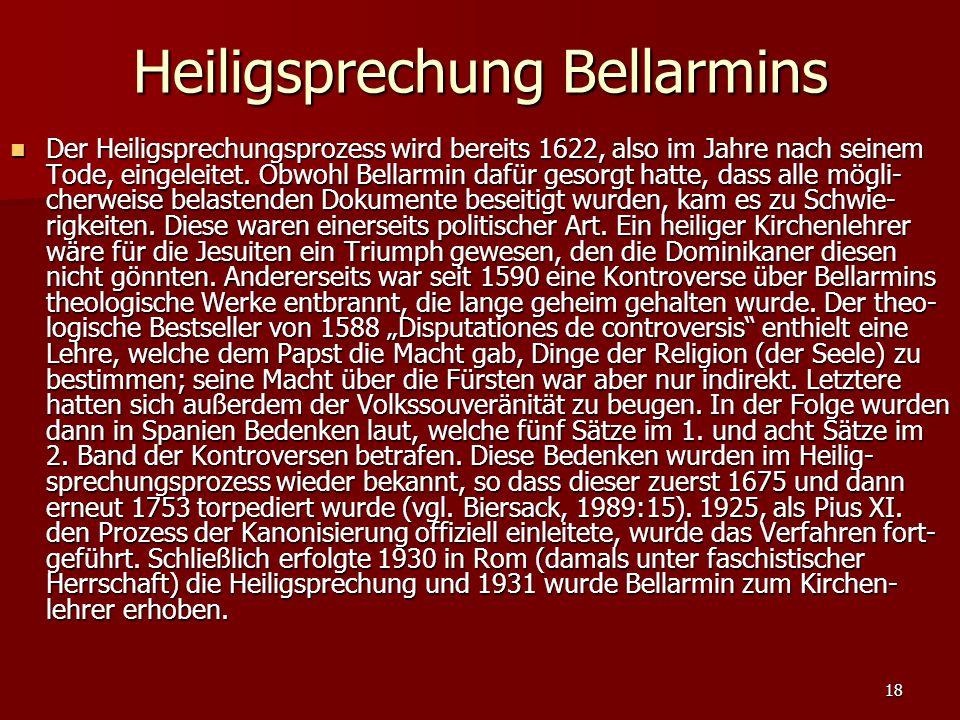 Heiligsprechung Bellarmins