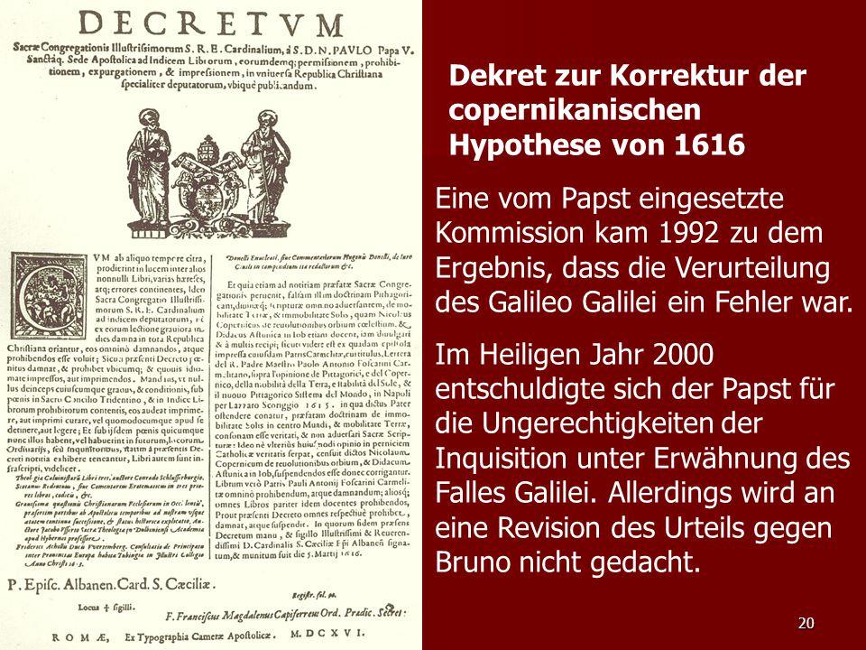 Dekret zur Korrektur der copernikanischen Hypothese von 1616