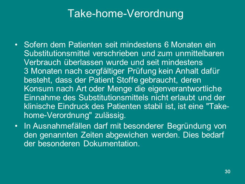 Take-home-Verordnung